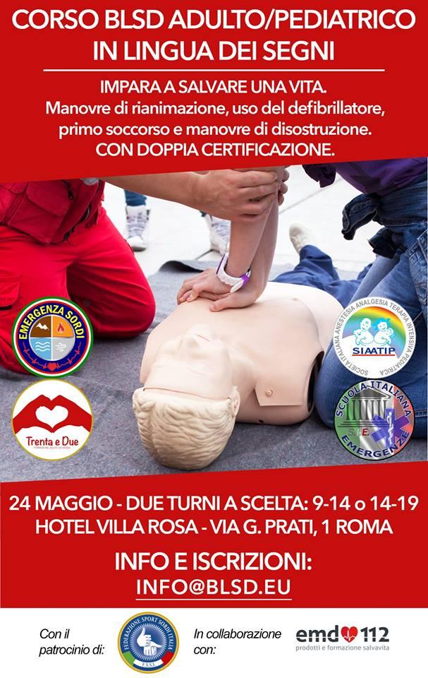 Corso BLSD in Lingua dei Segni Italiana LIS a Roma 24 maggio, accreditato SIAATIP e ARES 118 Regione Lazio