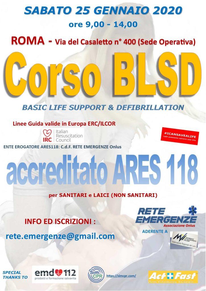 Corso BLSD 25 Gennaio 2019 Roma