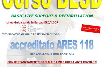 Corso BLSD Roma certificato IRC 25 Luglio 2020
